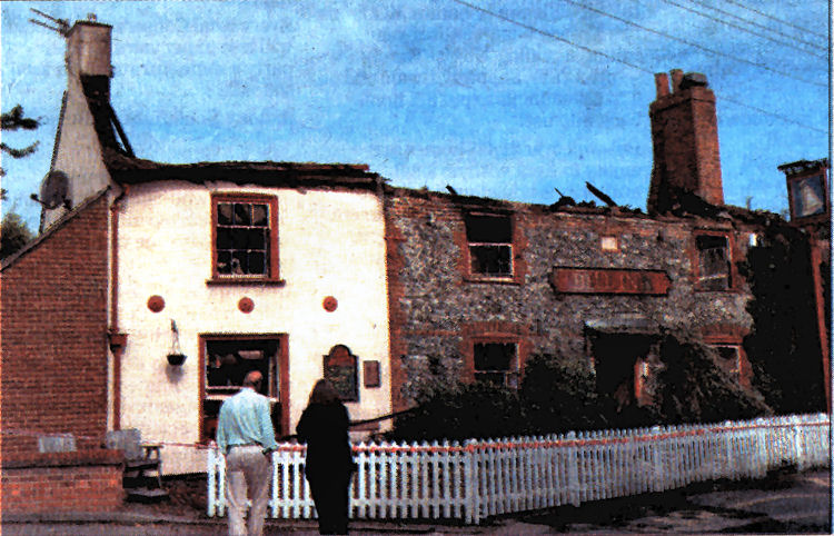 Bell Inn Shepherdswell after fire