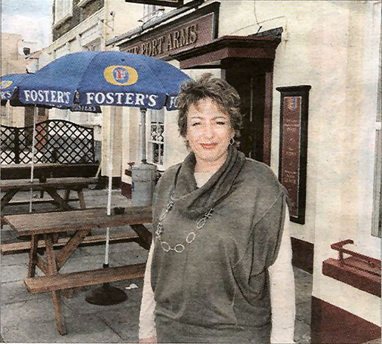 Nikki Pooke outside the Port Arms
